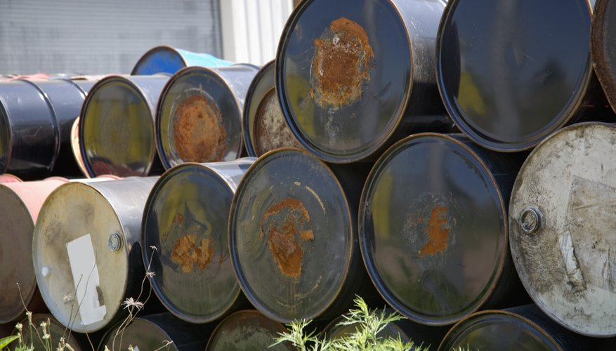 Chemicals stored in rusting containers can leak into soil, causing contamination.