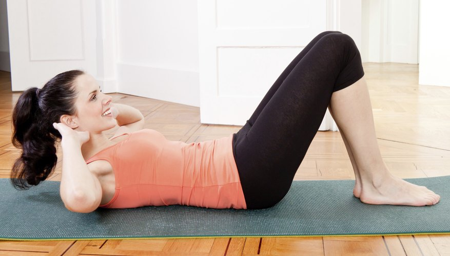 After 6 to 8 weeks, you can perform crunches.