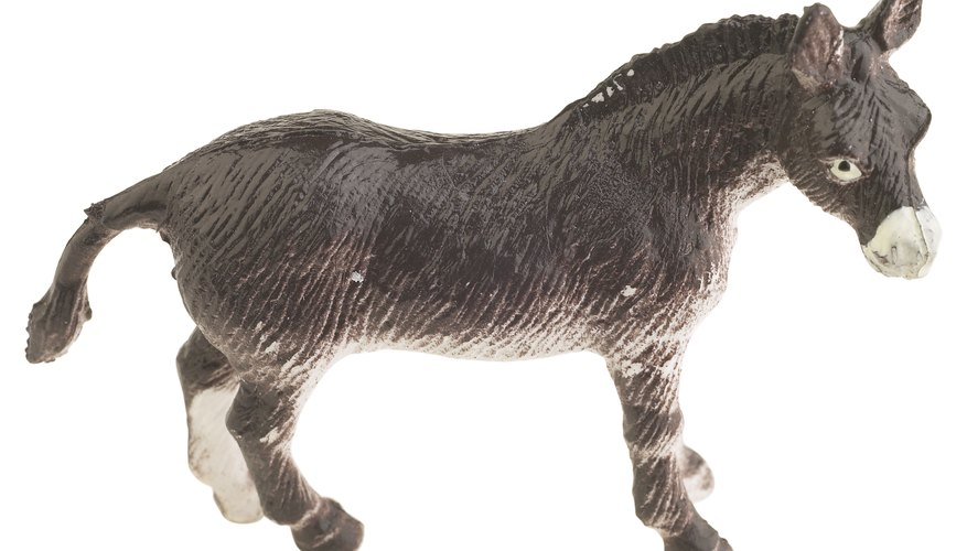 Make a realistic-looking donkey cutout from cardboard.