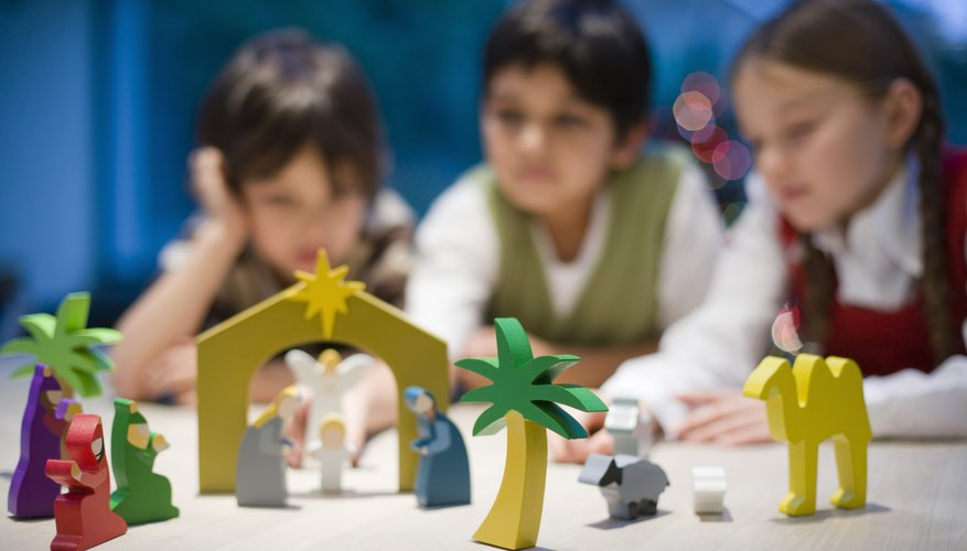 Children can pretend to be characters in familiar Bible stories.