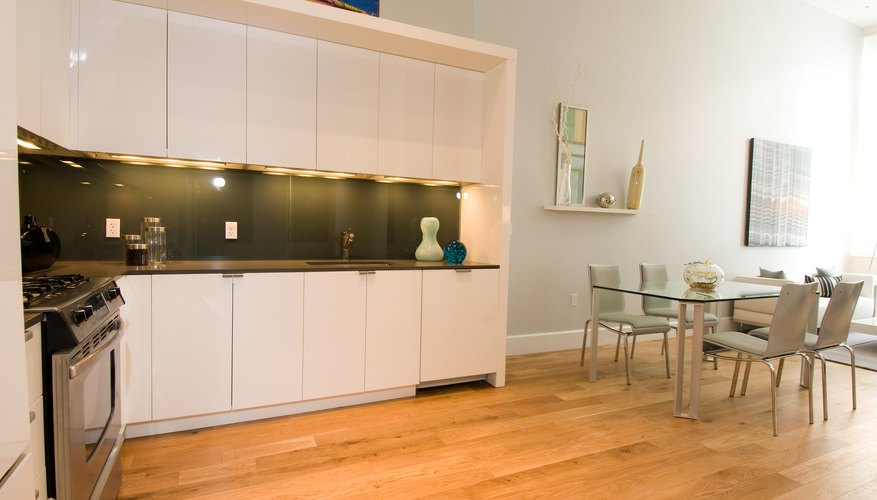 Modern kitchen with ceramic flooring