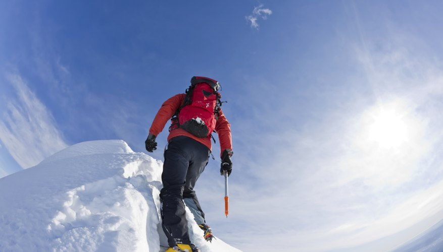 Ice climbing requires proper equipment.