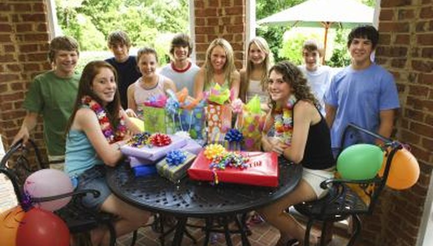 Encourage interaction by playing games at a teenage birthday party.