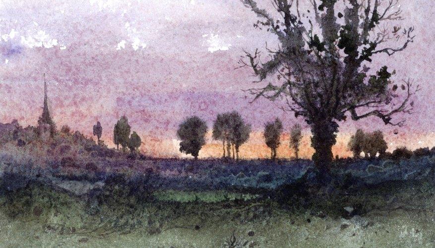 El pasto en esta pintura tiene variedad de texturas y cambios en tonos de color, de oscuro a claro.