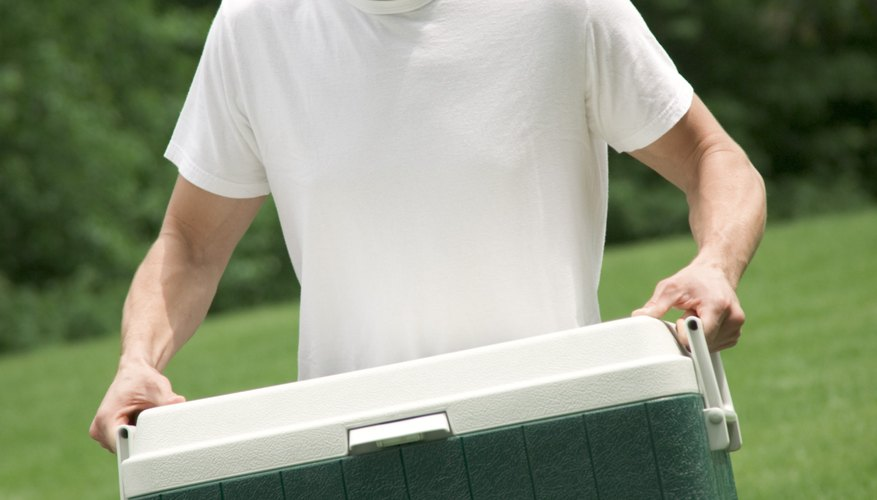 A cooler's Styrofoam insides provide good thermal insulation.