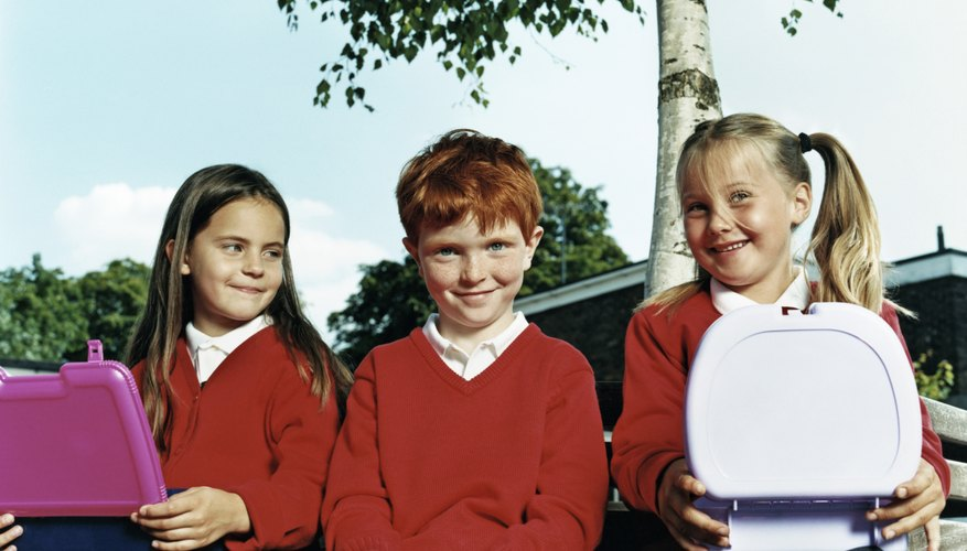 School uniform styles and colors can vary.