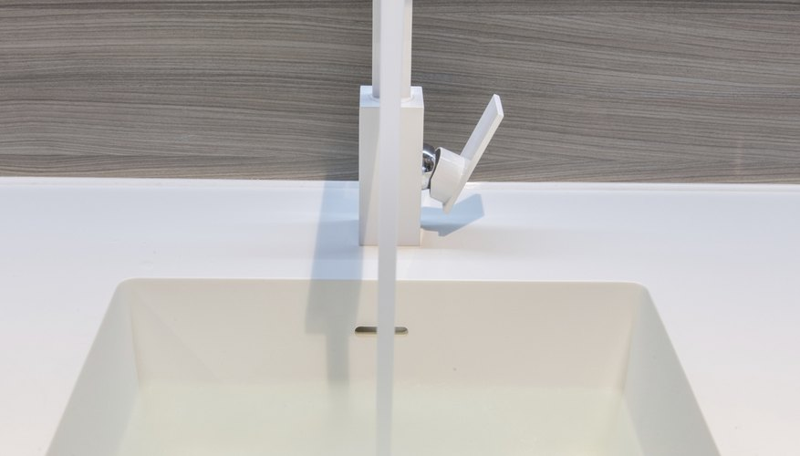 Close-up of a Corian sink & countertop