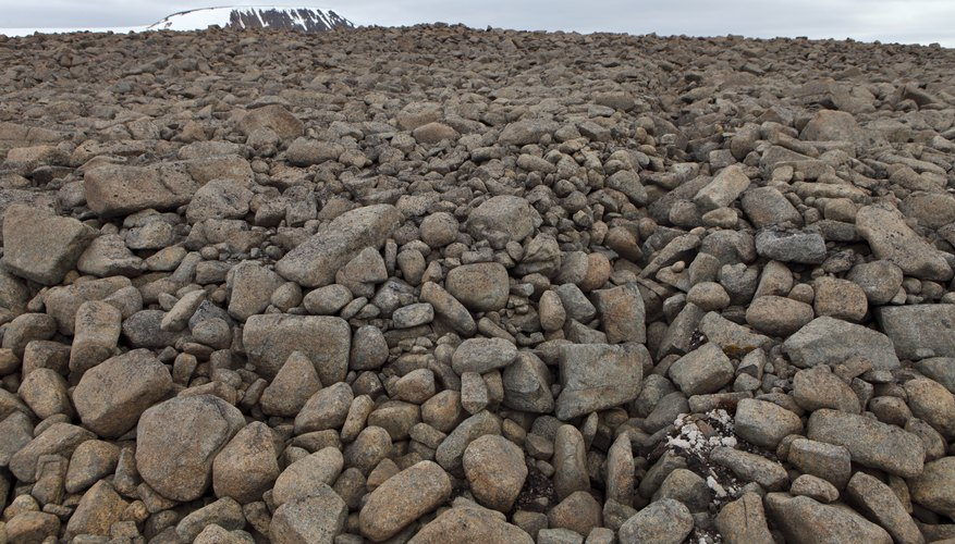 A close-up of desert rocks in the arctic tundra.
