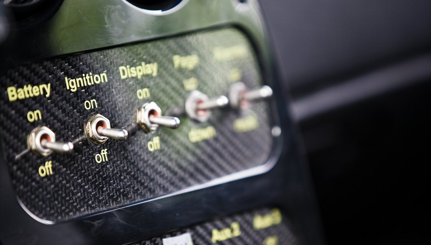 Close-up of switches on engine
