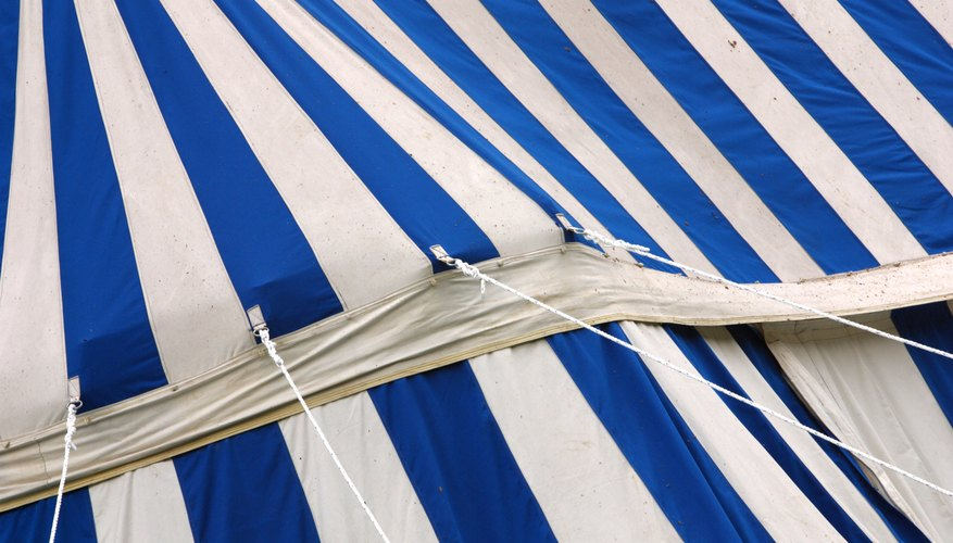 Real big top tents are often made from plastic of canvas.