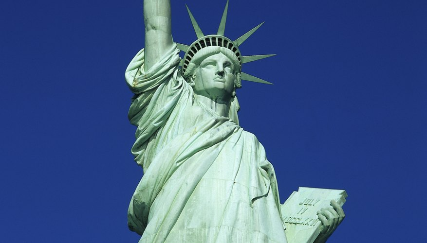 The Statue of Liberty has a heavy coating of copper acetate that makes it look green.