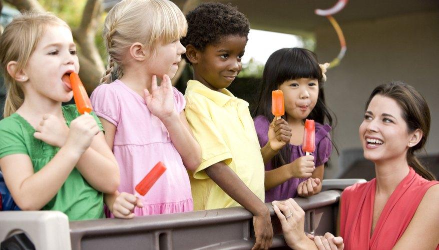 Kids enjoying snack-time.