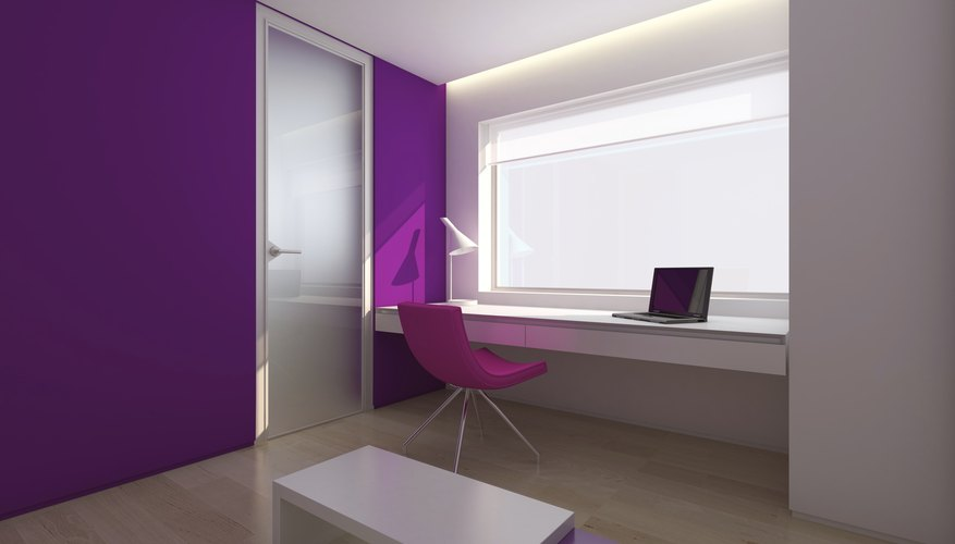 Office accent wall in purple