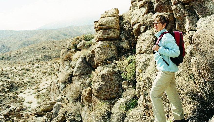 Woman hiking in desert