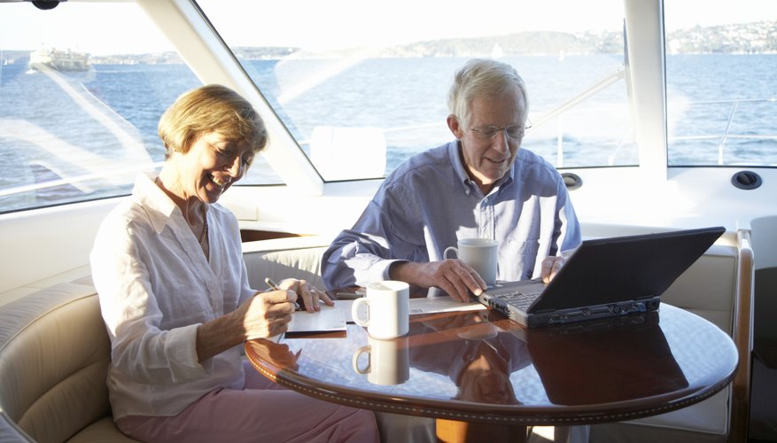 Retired seniors on a yacht