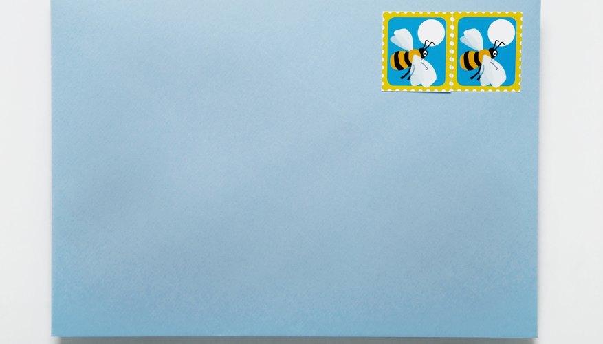 Blue stamped envelope