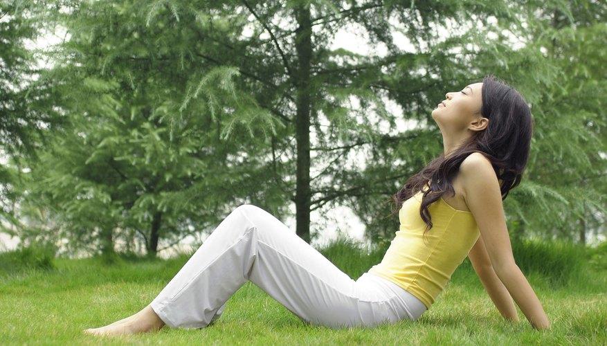 woman taking deep breaths