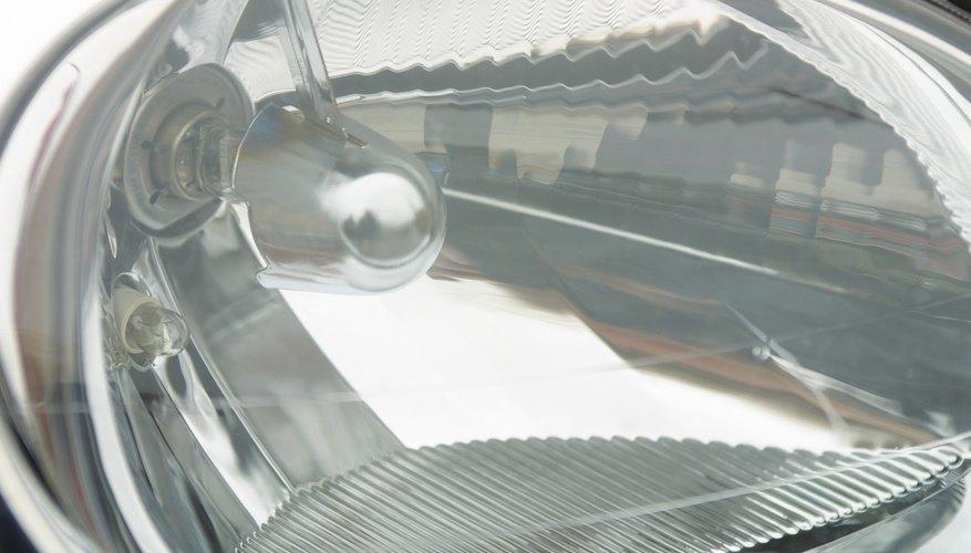Closeup of headlight on car