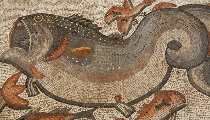 Detail of fish from a 4th A.D. Roman mosaic uncovered in Israel