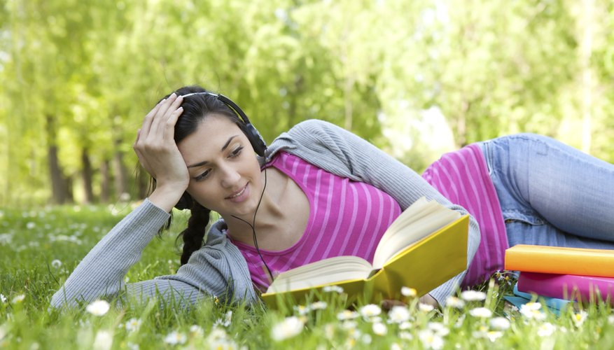 Listening to music while reading.