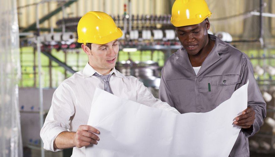 factory manager and worker with production plan