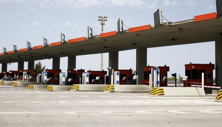 Rows of toll booths.