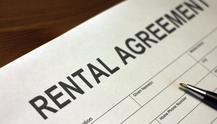 Rental agreement form with pen