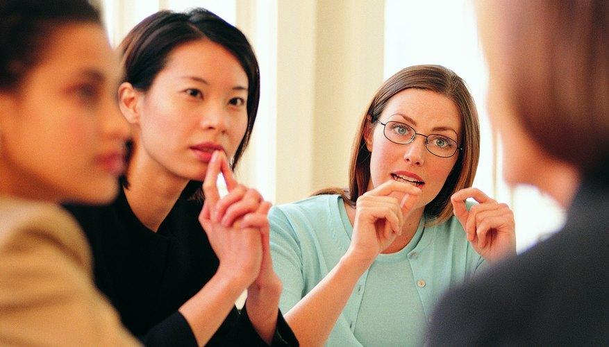 Business women talking in group