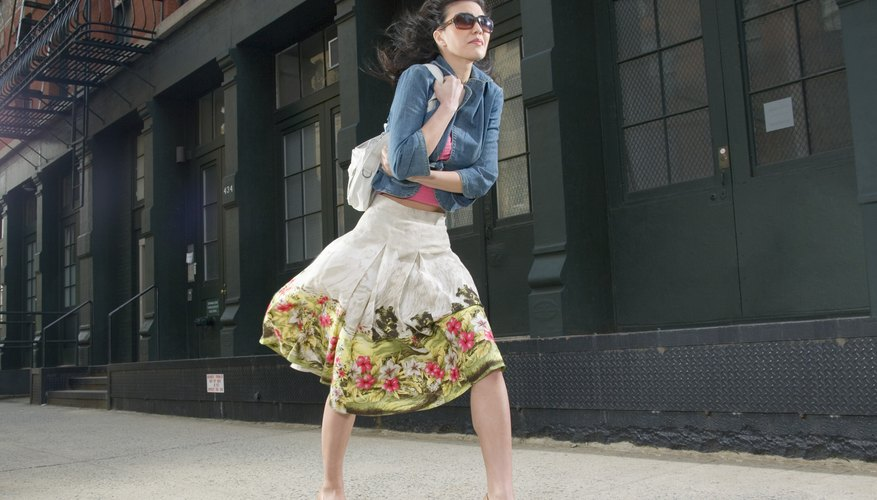 Add color to a white skirt with an embroidered bottom hem.