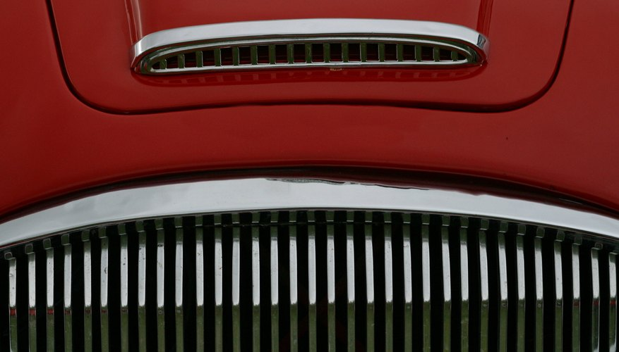Close-up of radiator grill on classic car