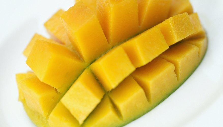 A close up of a mango half.