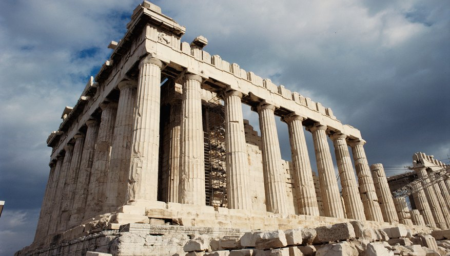 The building stones in the foreground of this picture of the Parthenon (Athens, Greece) have rounded corners and edges caused by spheroidal weathering.