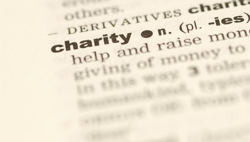 Close up of the word Charity.