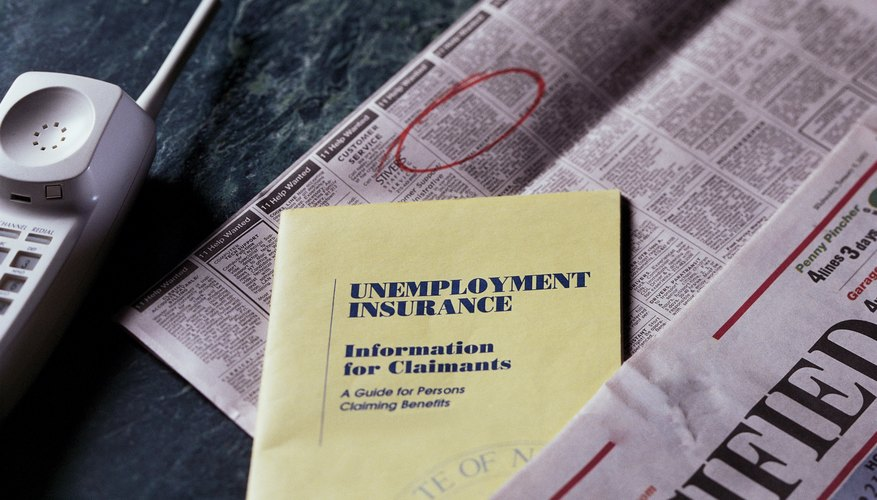 Unemployment insurance information with newspaper.