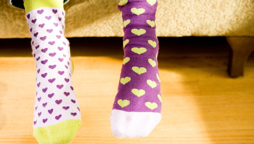 Put a toddler's pile of mismatched socks to good use on wacky tacky day.