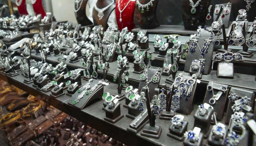 An array of silver jewlery for sale at a Turkish Market.