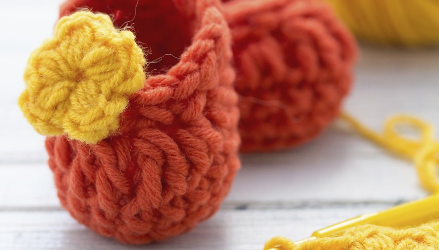 Single crocheting stitches together helps form toes of booties and slippers