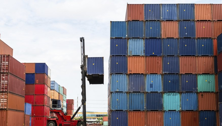 Forklift loading containers