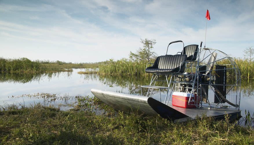 An engine can be mounted on a canoe to make an airboat.