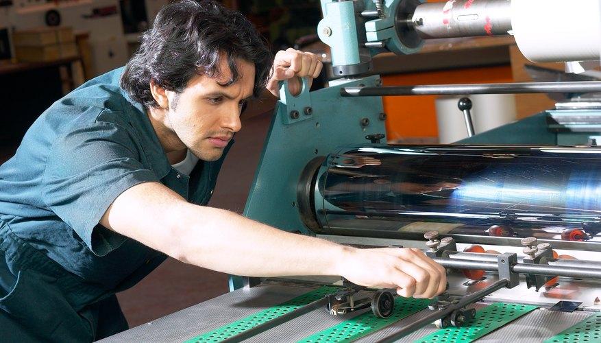 Man using machine in factory