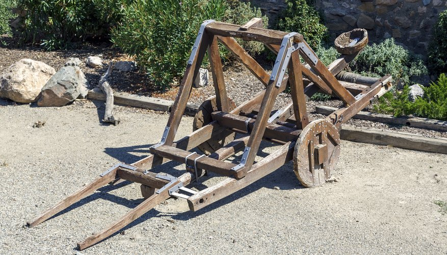 Catapults can exert a large amount of force to send a projectile at a target.