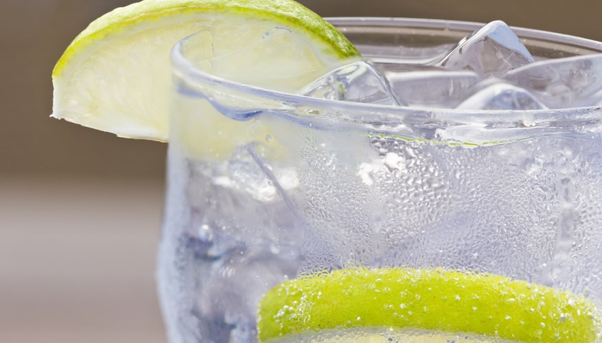 A glass of sparkling water.