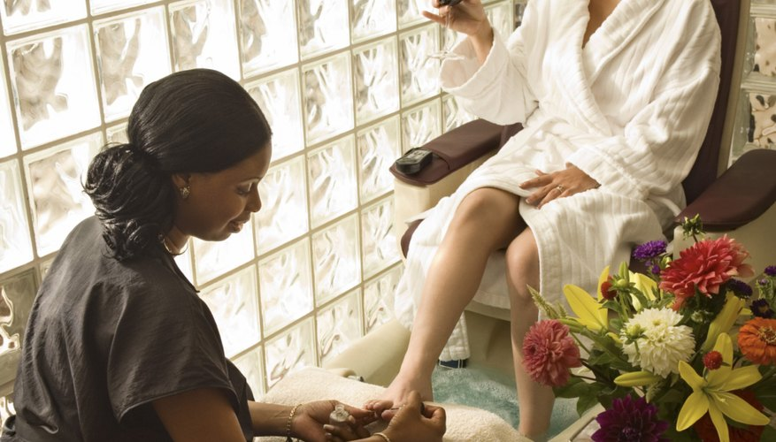 Woman receiving pedicure