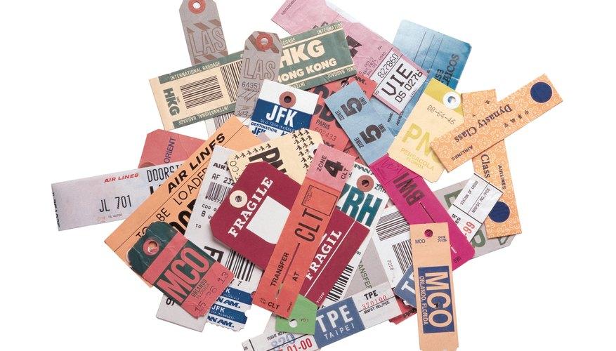 Pile of international luggage tags