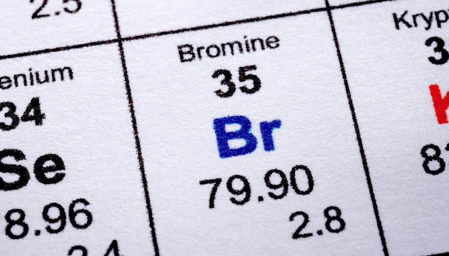 The halogen bromine is intermediate in atomic size between fluorine and astatine.