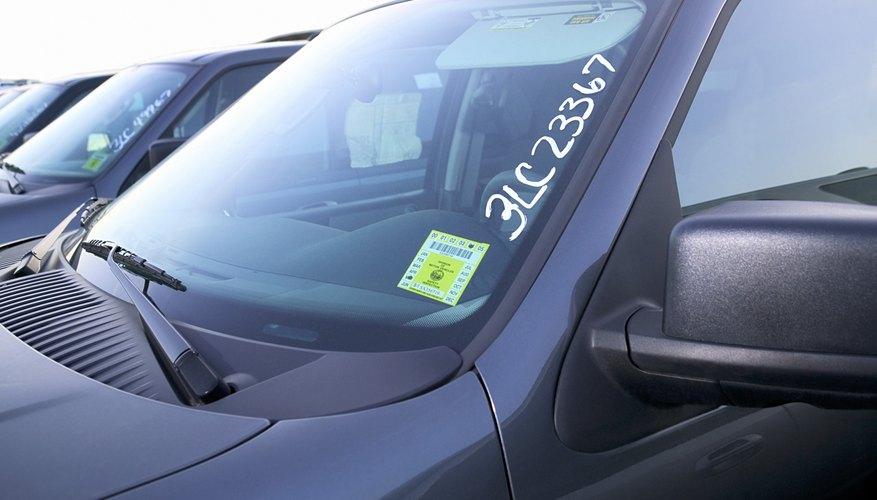 Sticker on car windshield