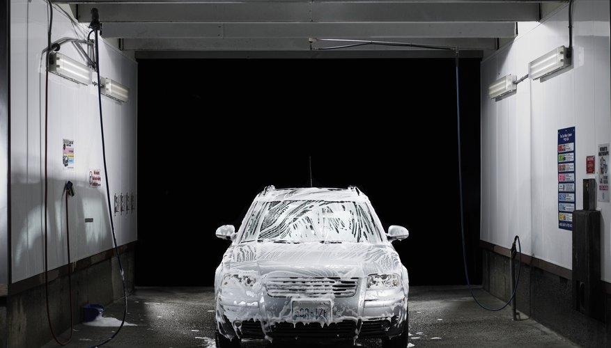 Soapy car at self service car wash
