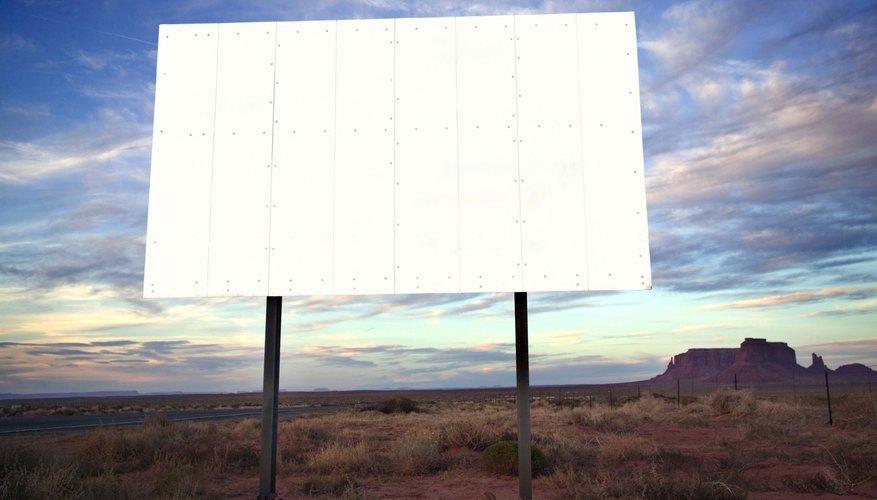 Blank billboard in desert, Monument Valley, Utah