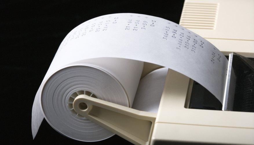 Adding machine with tape