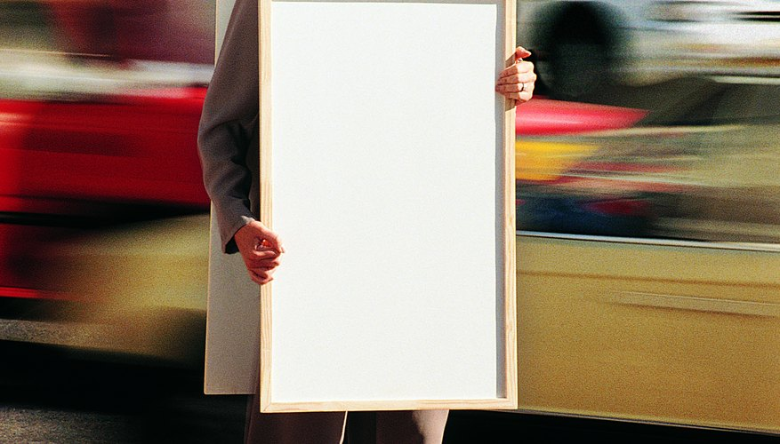 A sandwich board sign creates an interactive marketing tool.
